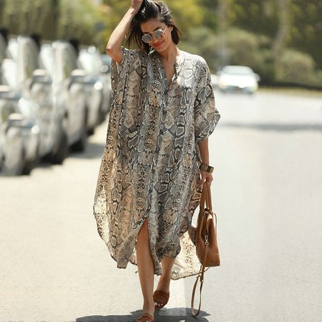 New snake print robe sun protection cardigan beach blouse wholesale nihaojewelry NHXW243967's discount tags