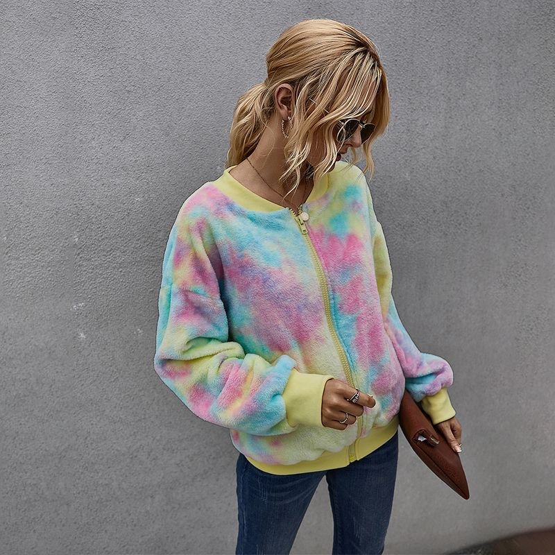 womens clothing winter contrast color tiedye explosion longsleeved plush jacket for women NHKA244048