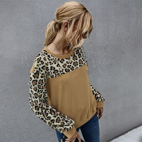Fashion hot-saling spring fleece sweater sexy leopard print contrast long-sleeved T-shirt for women NHKA244049's discount tags
