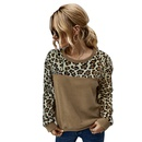 Fashion hotsaling spring fleece sweater sexy leopard print contrast longsleeved Tshirt for women NHKA244049