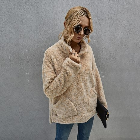 hot sale new fashion winter lapel plush sweater thickened for women NHKA244050's discount tags