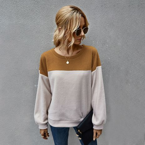 hot sale simple color matching sweater long-sleeved women's clothing wholesale NHKA244051's discount tags