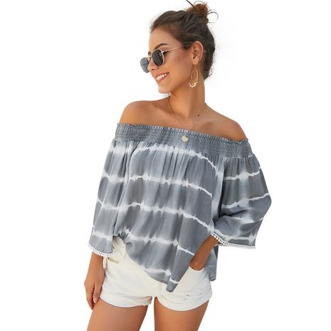 Fashion women's hot-saling new autumn one-shoulder nine-point sleeve loose top NHKA244057's discount tags