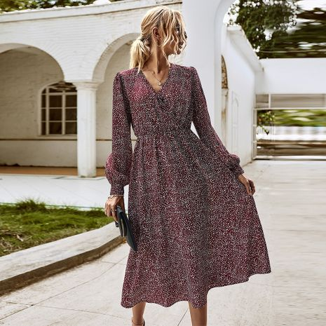 Fashion women's autumn new long-sleeved elegant floral dress wholesale NHKA244059's discount tags