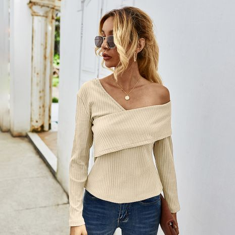 Fashion women's autumn new sexy strapless long-sleeved T-shirt  NHKA244067's discount tags