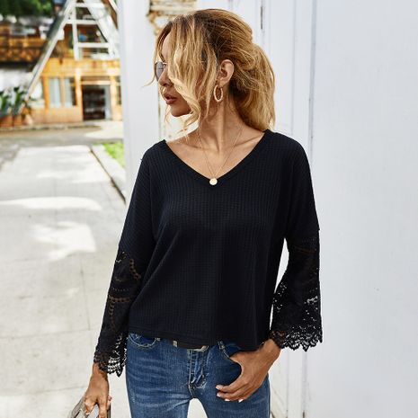 Fashion new autumn wild stitching lace long-sleeved T-shirt for women NHKA244069's discount tags