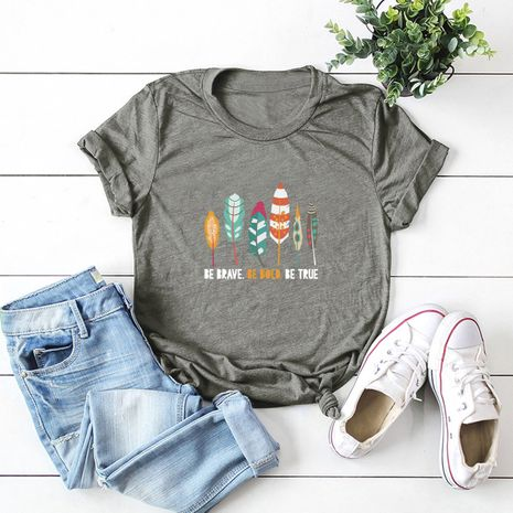 hot sale Slim cotton comfortable casual plus size short-sleeved women's T-shirt NHSN244071's discount tags