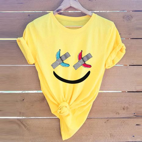 hot sale Slim cotton comfortable casual plus size short-sleeved women's cute smiley T-shirt  NHSN244073's discount tags