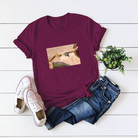 hot sale Slim cotton comfortable casual plus size short-sleeved women's abstract painting T-shirt  NHSN244076's discount tags