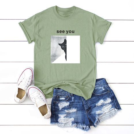 hot sale Slim cotton comfortable casual plus size short-sleeved women's T-shirt NHSN244079's discount tags