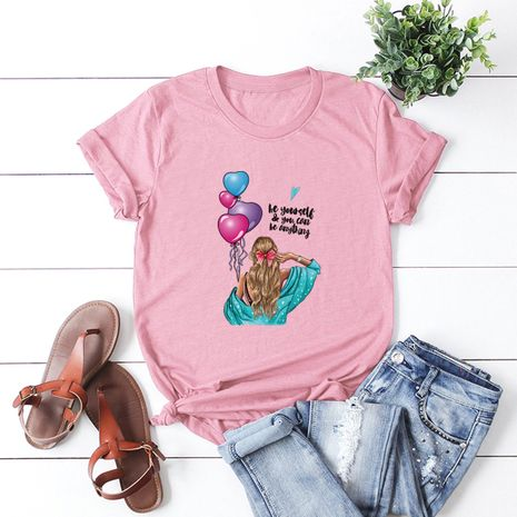 Fashion cute girls pure cotton comfortable casual plus size short-sleeved women's T-shirt NHSN244083's discount tags