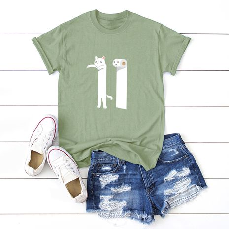 hot sale Slim cotton comfortable casual plus size short-sleeved women's T-shirt NHSN244085's discount tags