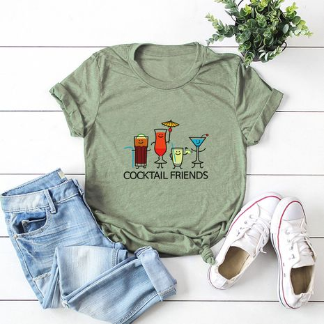hot sale Slim cotton comfortable casual plus size short-sleeved women's T-shirt NHSN244089's discount tags