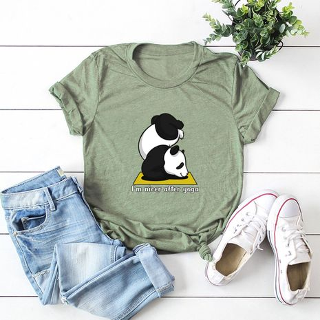 hot sale Slim cotton comfortable casual plus size short-sleeved women's panda T-shirt  NHSN244091's discount tags