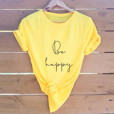 Fashion be happy letter printed cotton plus size short-sleeved women's T-shirt NHSN244094's discount tags