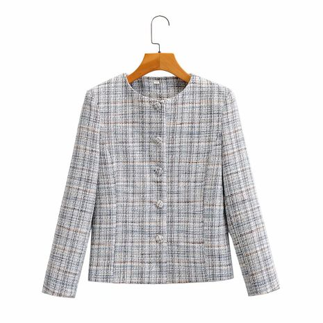wholesale women's new round neck short plaid short small jacket NHAM244101's discount tags