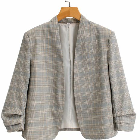 wholesale fashion plaid pleated unbuttoned blazer for women NHAM244104's discount tags