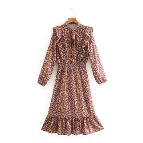 wholesale fashion new autumn mid-length print long-sleeved dress  NHAM244109's discount tags