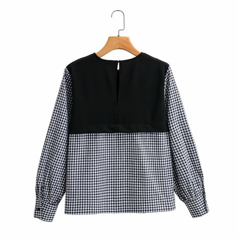 wholesale plaid stitching fake two-piece pullover long sleeve loose shirt  NHAM244111's discount tags