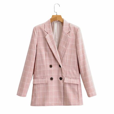 wholesale autumn new lapel double-breasted pink plaid suit jacket for women NHAM244115's discount tags