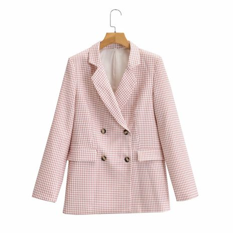 wholesale women's loose lapel long sleeve double breasted houndstooth casual jacket  NHAM244119's discount tags