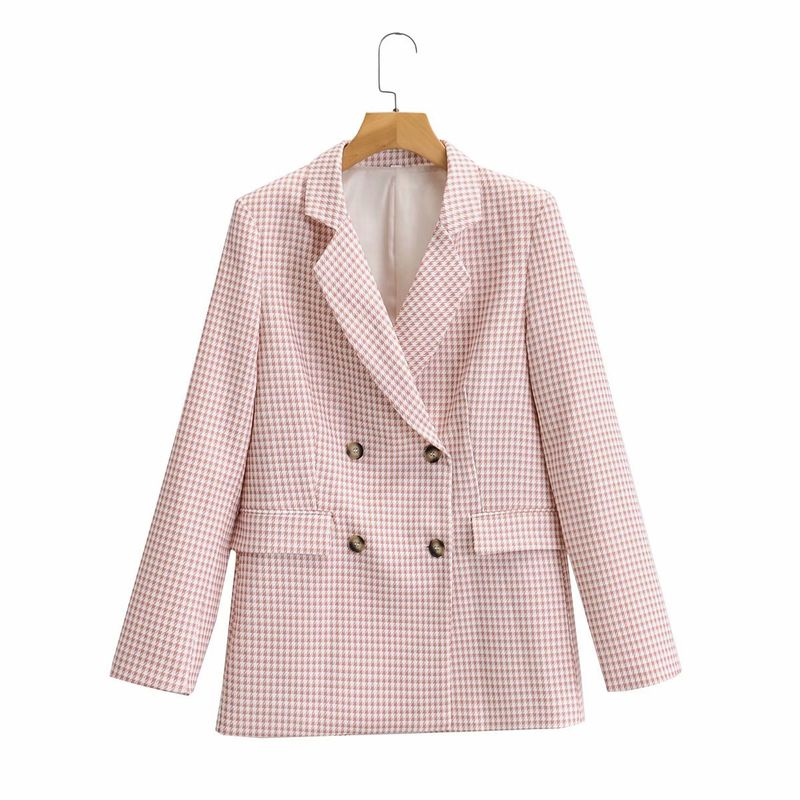 wholesale womens loose lapel long sleeve double breasted houndstooth casual jacket  NHAM244119