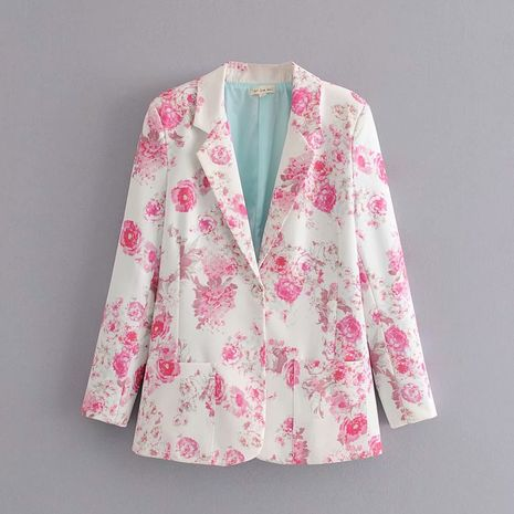 wholesale fashion new autumn floral v-neck blazer jacket for women NHAM244122's discount tags