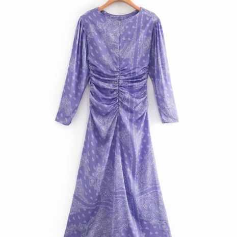 wholesale women's new purple print midi round neck dress hot-saling NHAM244123's discount tags