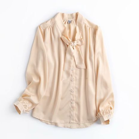 wholesale fashion niche bow tie professional fairy long-sleeved shirt top  NHAM244124's discount tags