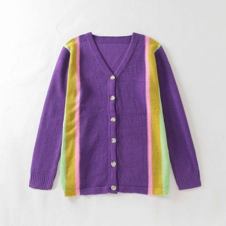 Fashion women's new rainbow contrast sweater outer wear cardigan wholesale  NHAM244125's discount tags