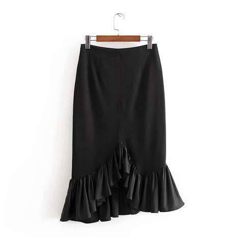 wholesale black high waist irregular fishtail skirt women mid-length ruffle skirt  NHAM244126's discount tags