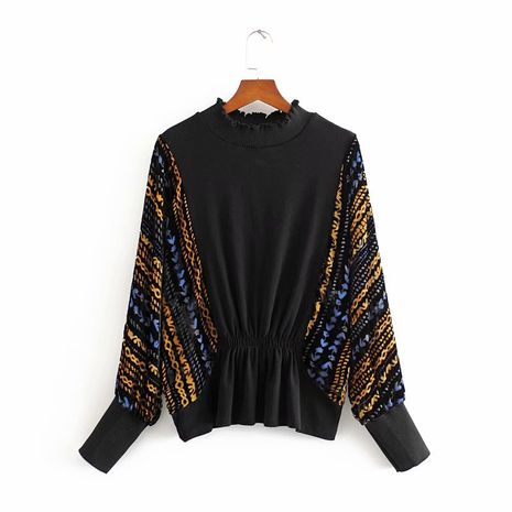 wholesale fashion color matching embossed loose slimming top gold velvet burnt flower stitching T-shirt  NHAM244127's discount tags