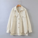 Fashion autumn new lapel check tweed shirt jacket for women wholesale NHAM244129