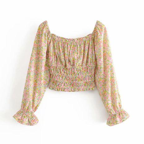 printed one-shoulder waist short long-sleeved shirt top  NHAM244131's discount tags