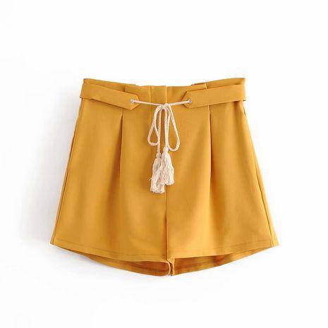 Fashion autumn casual wheat ear fringed strap high waist casual wide leg shorts Wholesale NHAM244135's discount tags