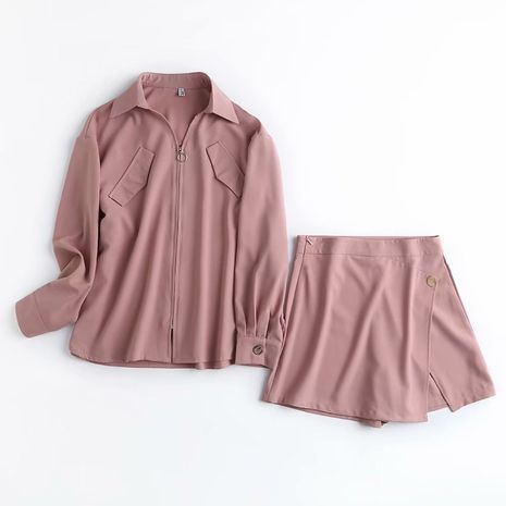 new style pink shirt zipper jacket high waist skirt suit wholesale nihaojewelry NHAM244137's discount tags