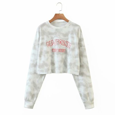 wholesale tie-dye letter printing pullover casual all-match sweater loose top  NHAM244142's discount tags