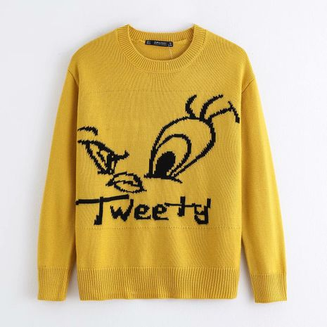 Fashion autumn jacquard cartoon women's sweater top wholesale  NHAM244144's discount tags