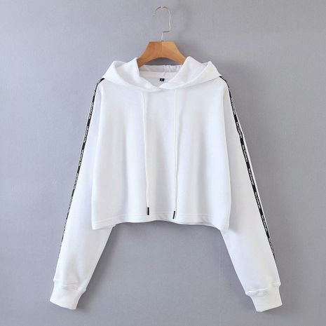 wholesale autumn new women's letter side stripe hooded long sleeve pullover sweater  NHAM244145's discount tags
