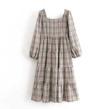wholesale retro square collar fashion long sleeve slit midi dress  NHAM244150's discount tags