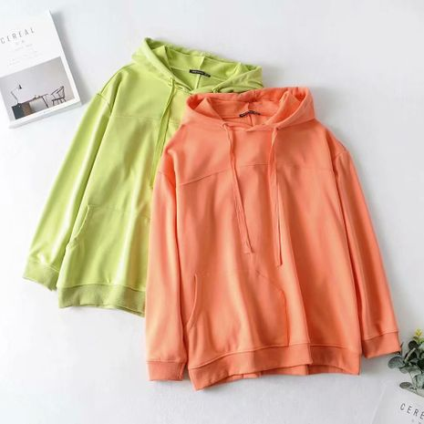 wholesale new cotton terry fabric stitching loose drawstring hooded sweater  NHAM244152's discount tags