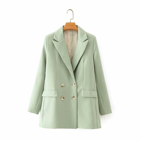 wholesale elegant pure color double-breasted casual suit jacket for women NHAM244154's discount tags