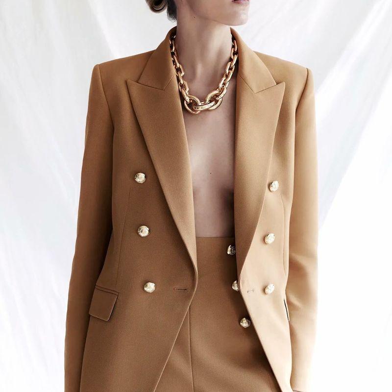 wholesale new fashion  autumn buttoned casual women's slim fit blazer  NHAM244156