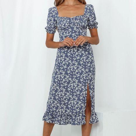 Wholesale autumn retro blue floral waist side slit long dress  NHAM244157's discount tags