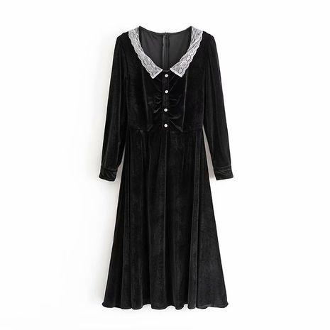 wholesale black velvet lace lapel ladies light mature wind waist dress  NHAM244160's discount tags