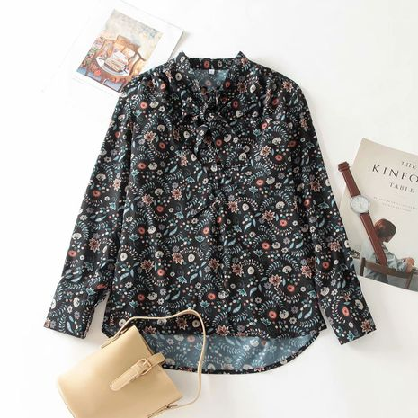 wholesale new autumn neckline knot printed blouse  NHAM244162's discount tags