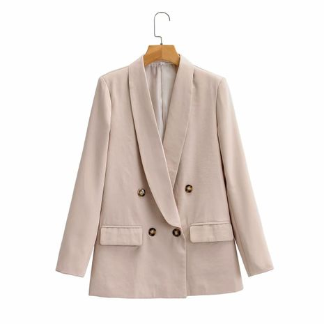 wholesale women's retro fashion loose solid color long-sleeved lapel blazer  NHAM244163's discount tags