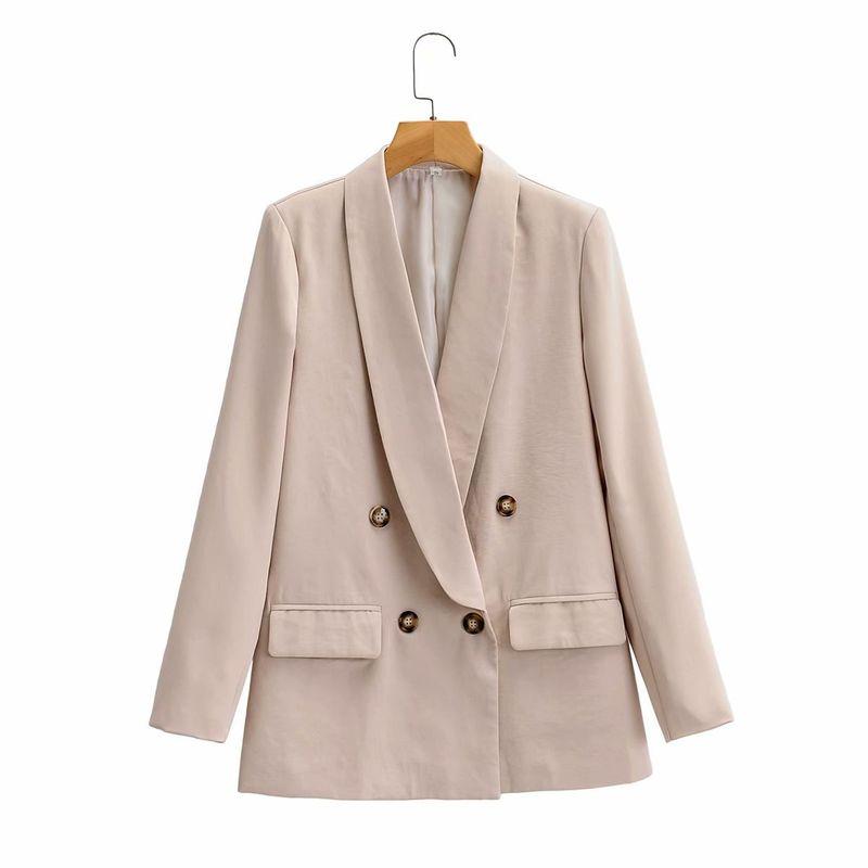 wholesale women's retro fashion loose solid color long-sleeved lapel blazer  NHAM244163