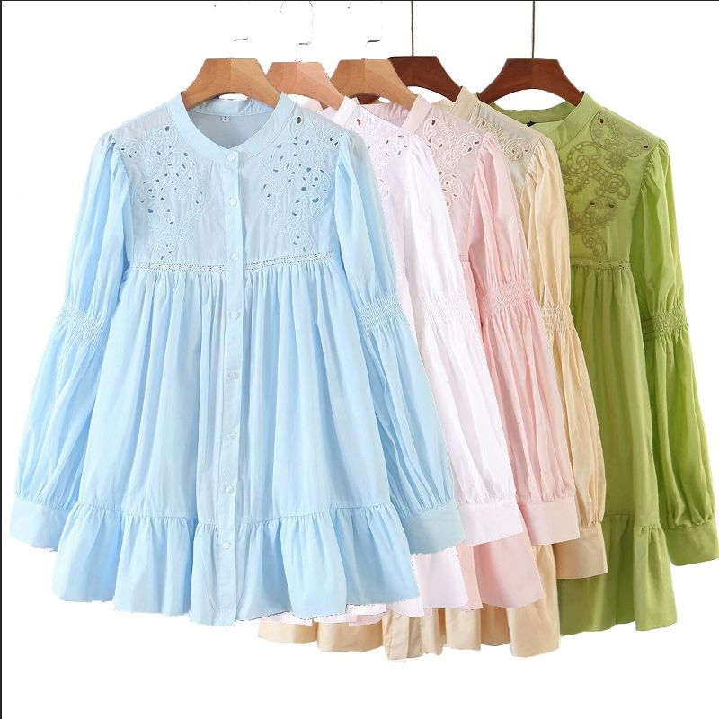 wholesale fashion autumn new hollow embroidery mid-length shirt  NHAM244165