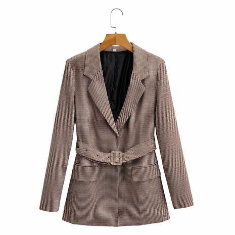 Wholesale Plaid With Belt Suit Lapel No Button Long Sleeve Mid-length Suit  NHAM244168's discount tags